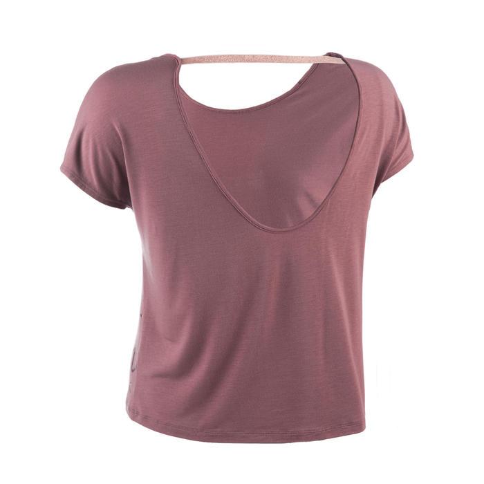 Soepel T-shirt voor moderne dans dames donkerroze