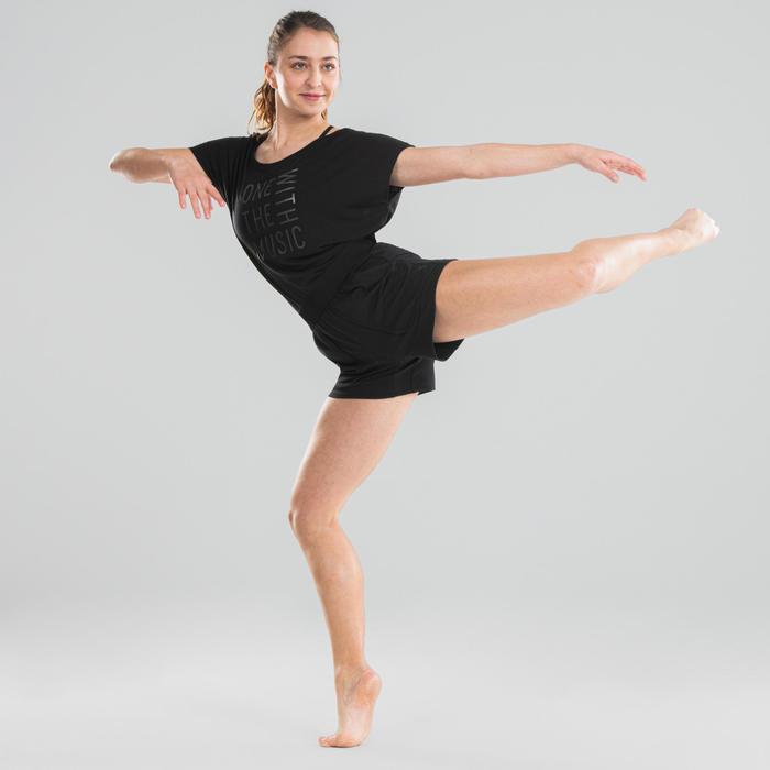Soepel T-shirt voor moderne dans dames zwart met motief