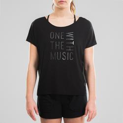 T-shirt danse moderne noir fluide à graphisme femme