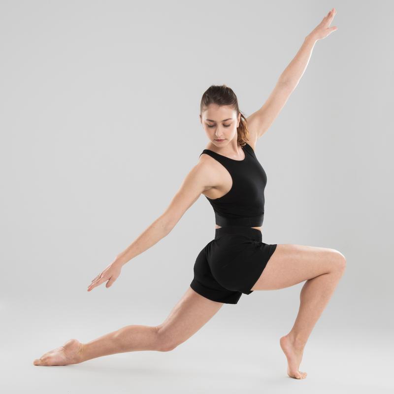 Crop top danse moderne coton noir femme