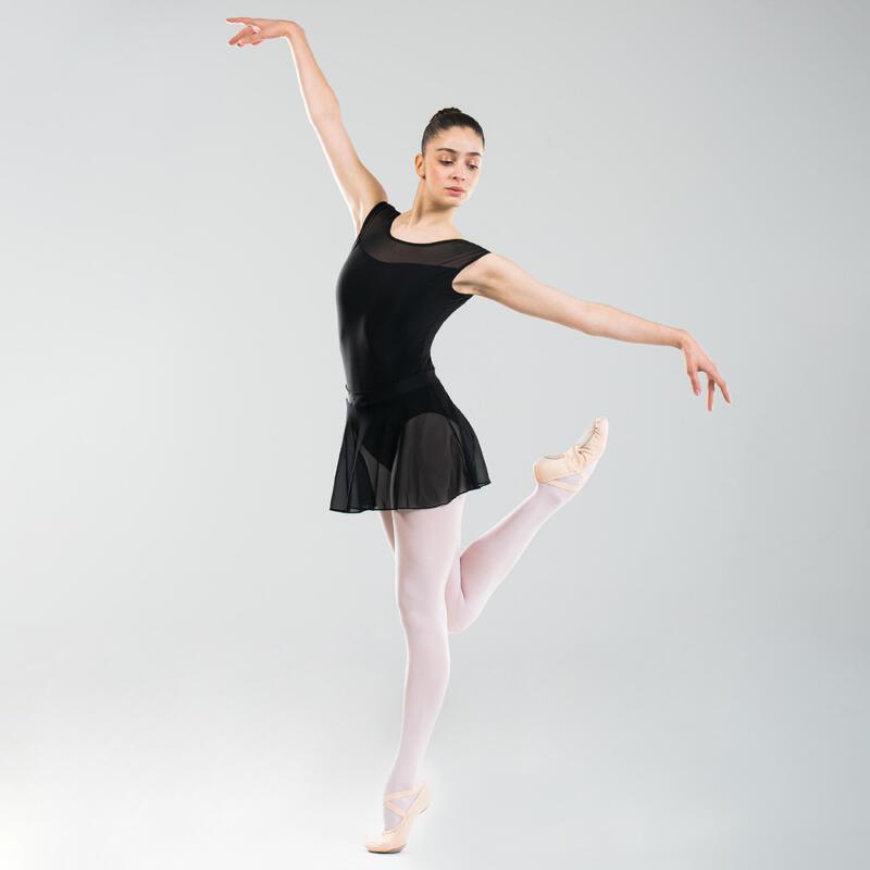Women's Bi-Material Short-Sleeved Ballet Leotard - Black