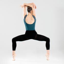 Justaucorps danse classique bleu manches courtes bi-matière femme