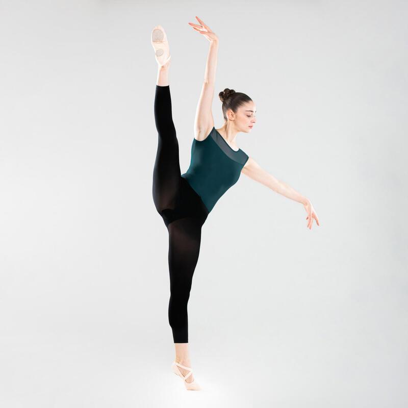 Women's Mixed Media Short-Sleeved Ballet Leotard - Blue