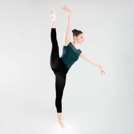 Women's Mixed Media Short-Sleeved Ballet Leotard - Blue - Decathlon