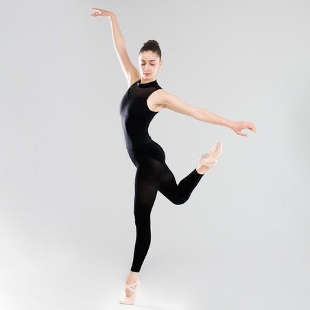 Women's High-Necked Ballet Leotard - Black - Decathlon