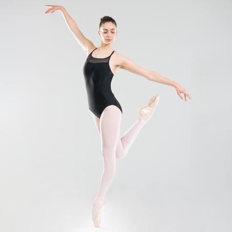 Ballet Leotard with Cross-Over Straps Black - Women
