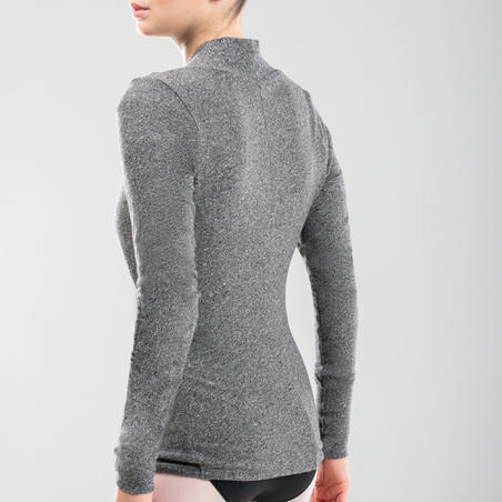 Ballet Wrap Over Top Mottled Grey - Women