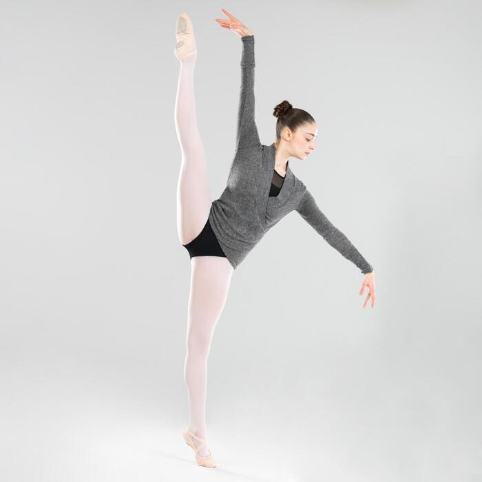 Tanz-Wickeljacke Ballett Damen grau meliert