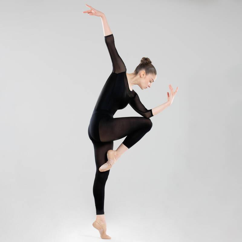 DÁMSKÉ TRIKOTY, OBLEČENÍ NA BALET Balet - TRIKOT S DLOUHÝM RUKÁVEM ČERNÝ DOMYOS - Balet