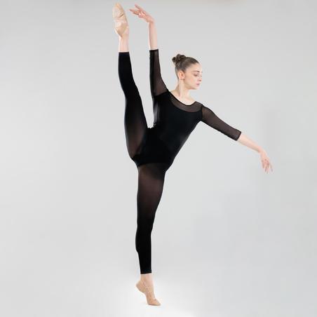 Women's Mixed Media Long-Sleeved Ballet Leotard - Black - Decathlon