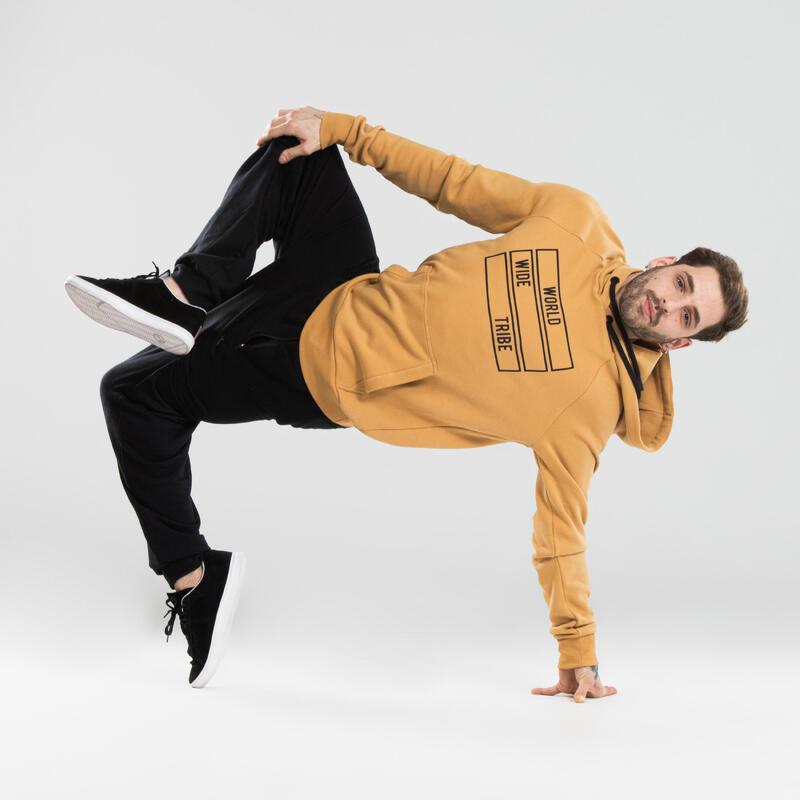 Sweat à capuche danses urbaines jaune à imprimés
