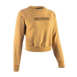 Cropped sweater voor streetdance dames geel