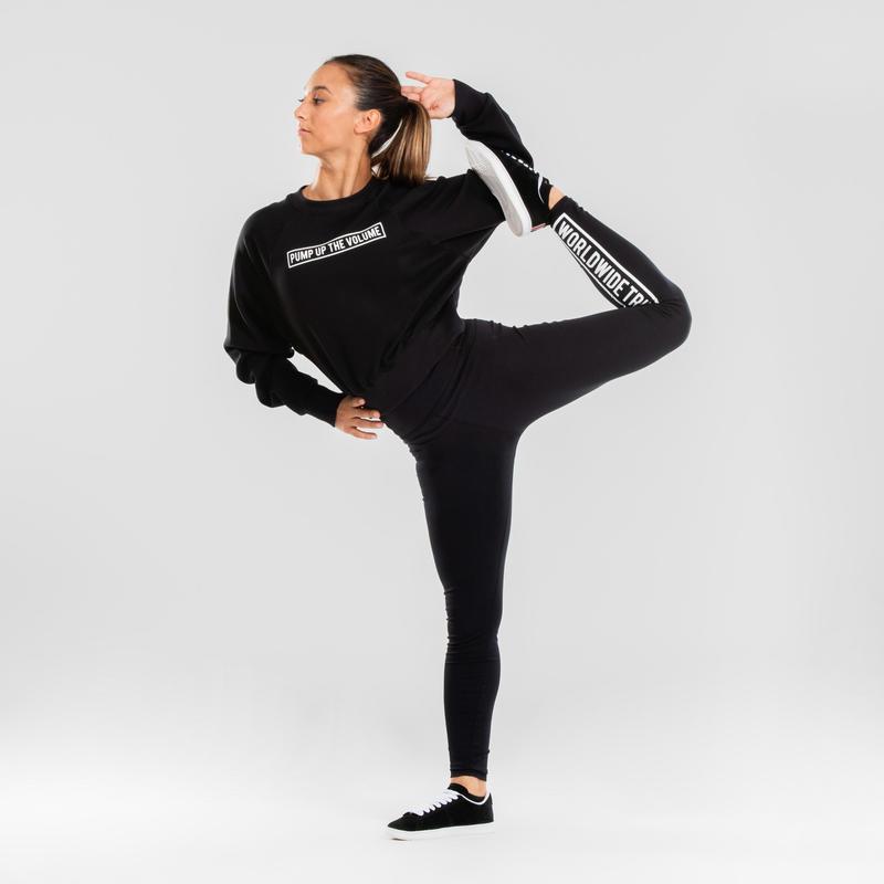 เสื้อแขนยาวแบบสวมหัวทรงครอปสำหรับผู้หญิงใส่เต้นสไตล์ Urban (สีดำพิมพ์ลาย)
