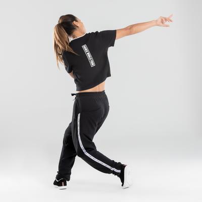Crop top danses urbaines noir à imprimés femme