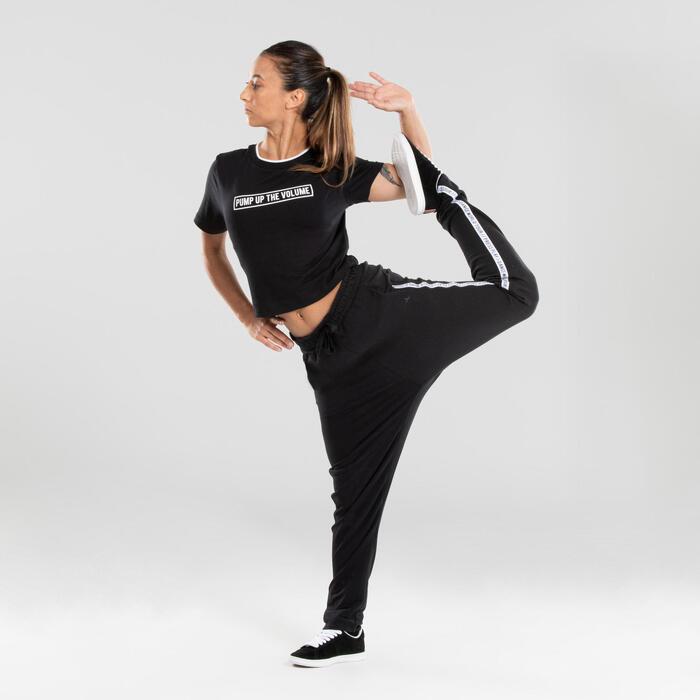 Crop top voor streetdance dames zwart met print