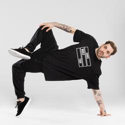 T-shirt voor streetdance heren zwart met motief