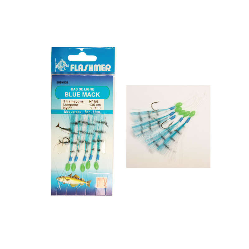 FEATHERS TRAINS Fishing - Blue mack 5 N°1/0 hooks blue FLASHMER - Fishing