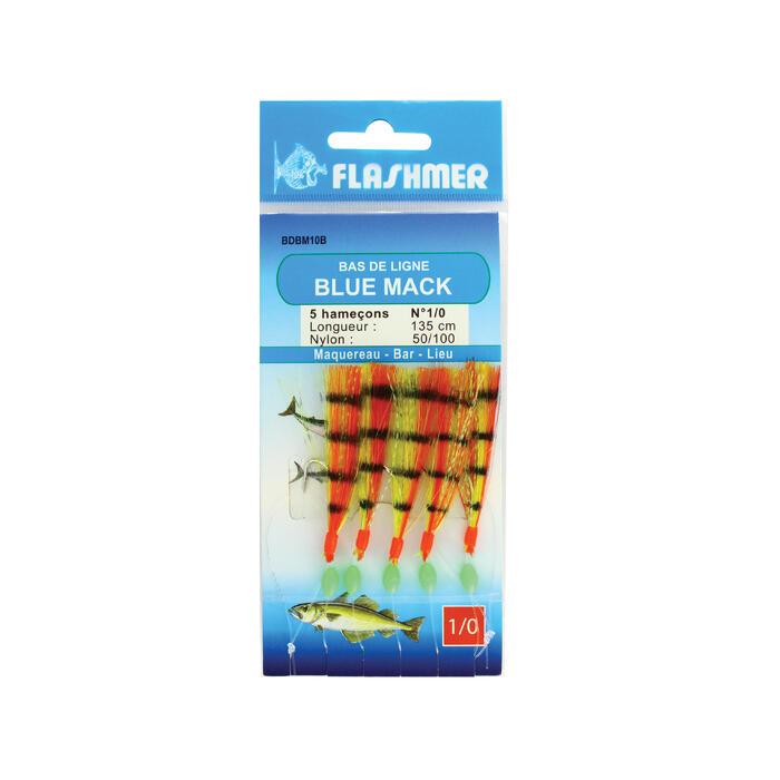 Bas de ligne Blue mac 5 hameçons 1/0 rouge et jaune pêche en mer