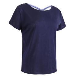 女款有氧健身訓練T恤500 - 藍色