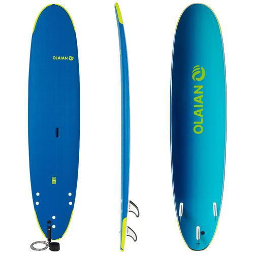Planche de surf en mousse 8'6'' 500. Livrée avec un leash et 3 ailerons.