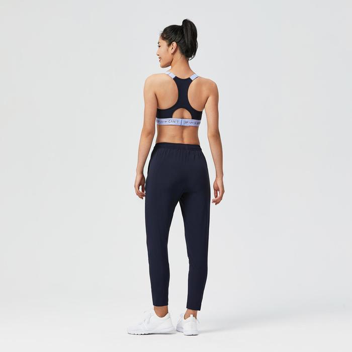 女款有氧健身訓練長褲100-軍藍色