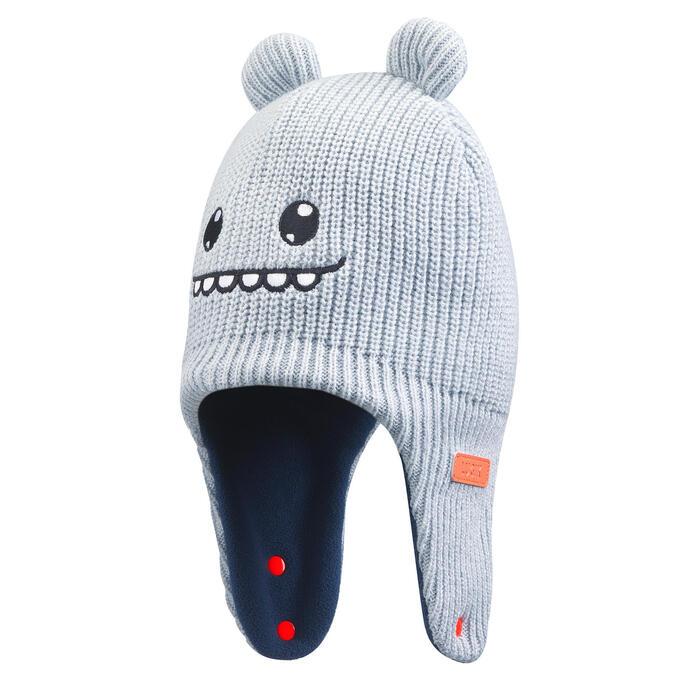 Bonnet de ski / luge bébé warm gris et bleu