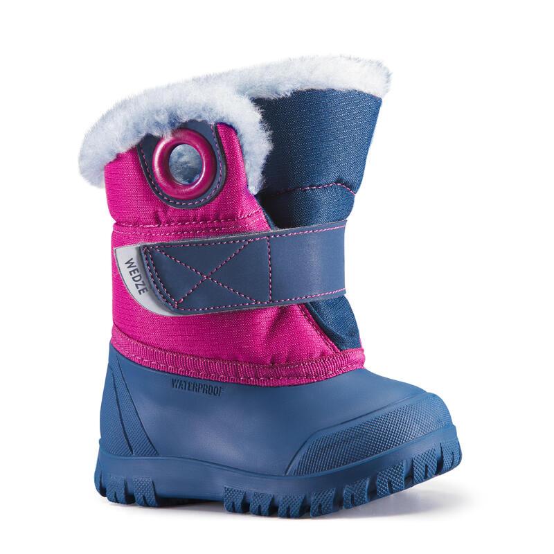 Après ski bébé, Bottes de neige bébé XWARM bleues et violettes