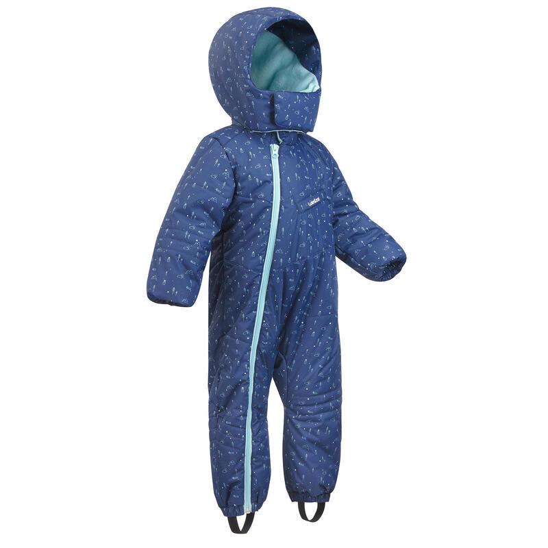 Babies' Ski/Sledge Snowsuit Warm - Blue and Green Print