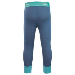 Sous-vêtement pantalon laine mérinos de ski / luge bébé meriwarm bleu et vert