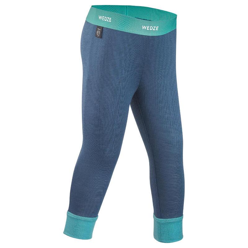 Baby skiing base layer trousers, leggings merino wool MERIWARM Turquoise