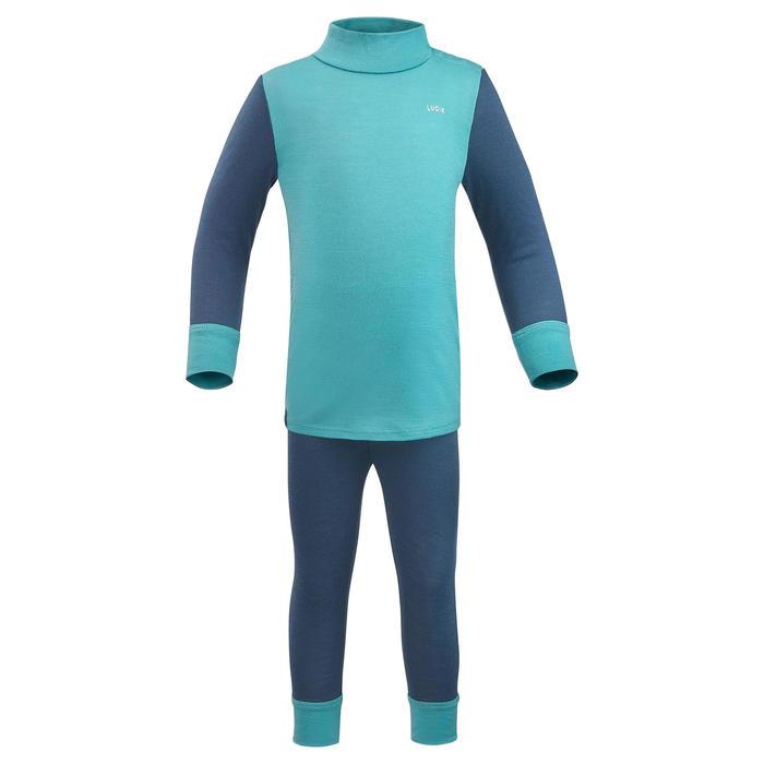Sous-vêtement haut laine mérinos de ski / luge bébé meriwarm bleu et vert