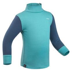 Merino shirt voor skiën / sleeën peuters Meriwarm blauw en groen