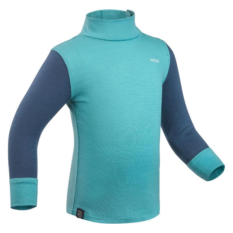 Sous vêtement haut laine mérinos ski bébé, Sous pull ski bébé MERIWARM turquoise