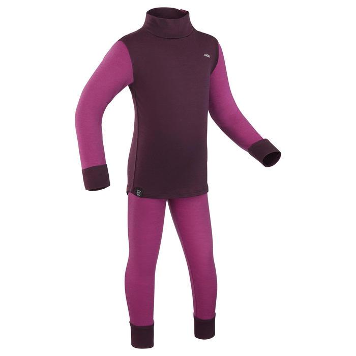 Sous-vêtement haut laine mérinos de ski / luge bébé meriwarm violet
