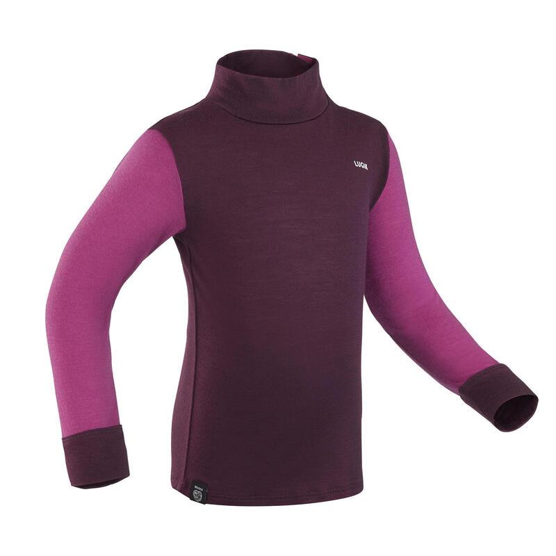 Prenda interior arriba, jersey térmico esquí bebé lana merina MERIWARM violeta