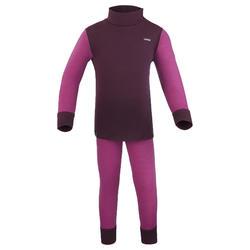Sous-vêtement pantalon laine mérinos de ski / luge bébé meriwarm violet