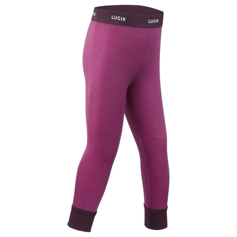 Baby skiing base layer trousers, leggings merino wool MERIWARM purple