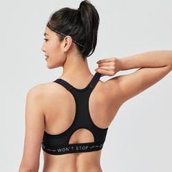 Brassière fitness cardio training femme imprimé noir et blanc 900