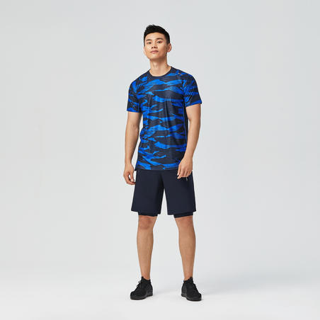 Fitness Cardio Training T-Shirt 500 - Black/Blue Camo