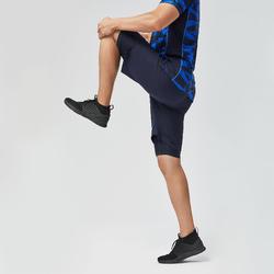有氧健身訓練T恤500 - 黑色/藍色迷彩
