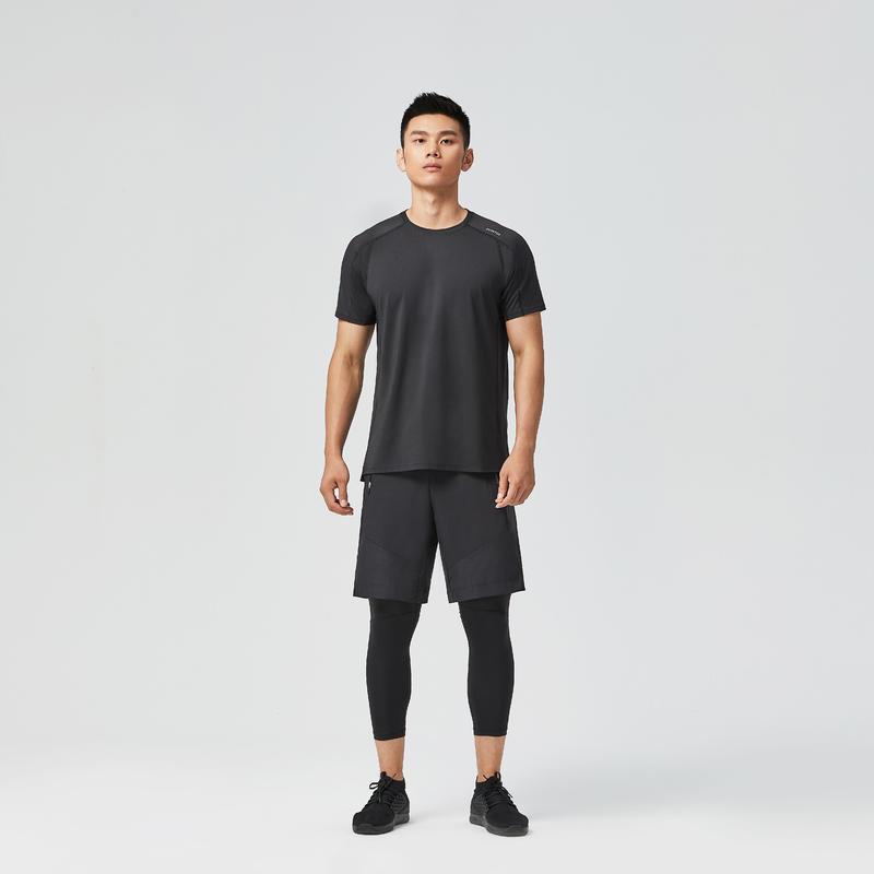 Men's Fitness Cardio Training Eco-Friendly 100% Mesh T-Shirt 500 - Black