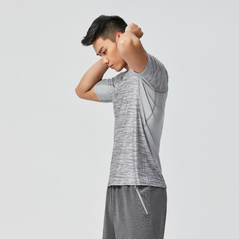 เสื้อยืดสำหรับใส่ออกกำลังกายคาร์ดิโอรุ่น 500 (สีเทา Mottled)