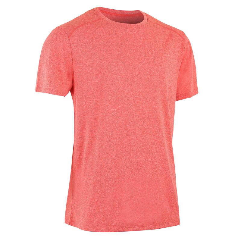 Technisch T-shirt voor fitness gemêleerd lichtrood