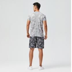 男款有氧健身訓練環保短褲120 - 灰色印花