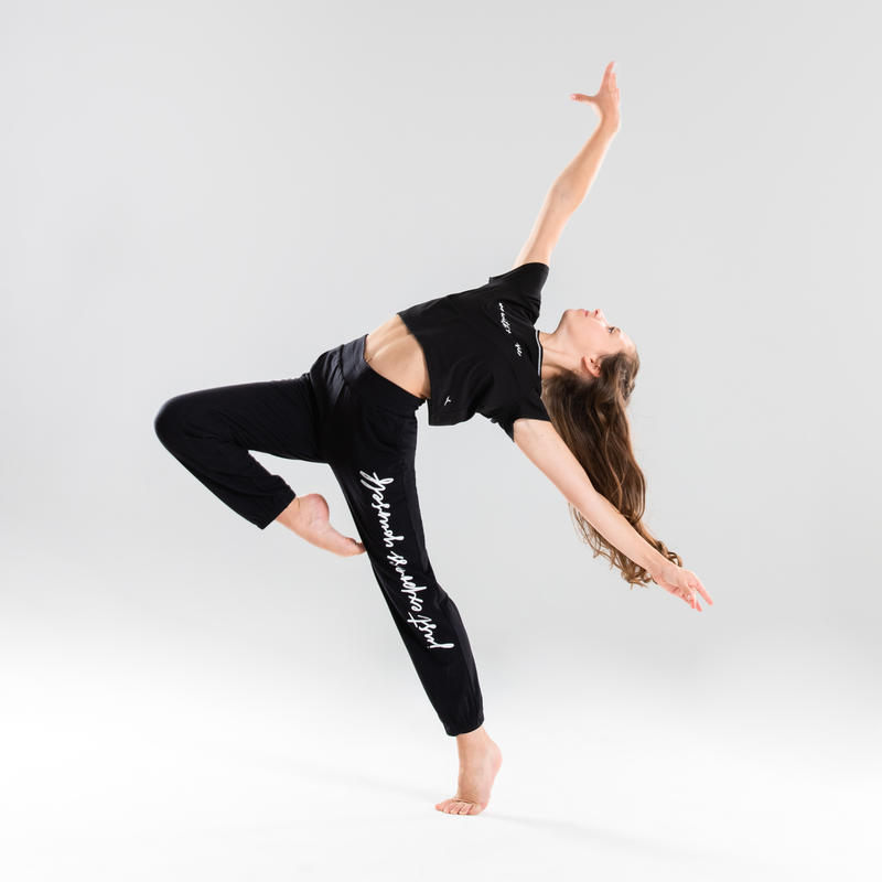Girls' Convertible Modern Dance Bottoms - Black with Patterns