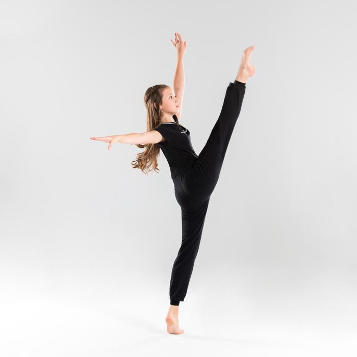 Soepel T-shirt voor moderne dans meisjes zwart
