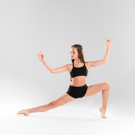 Saīsināts meiteņu dejošanas krekliņš ar lencēm, melns