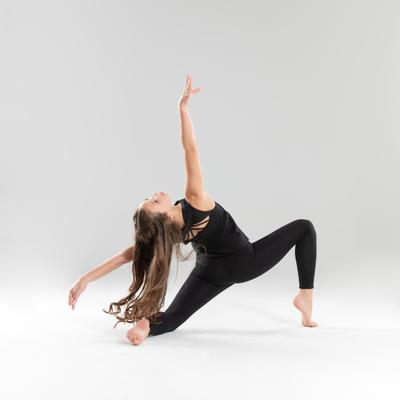 טייץ ריקוד ארוך לבנות ללא תפרים - שחור