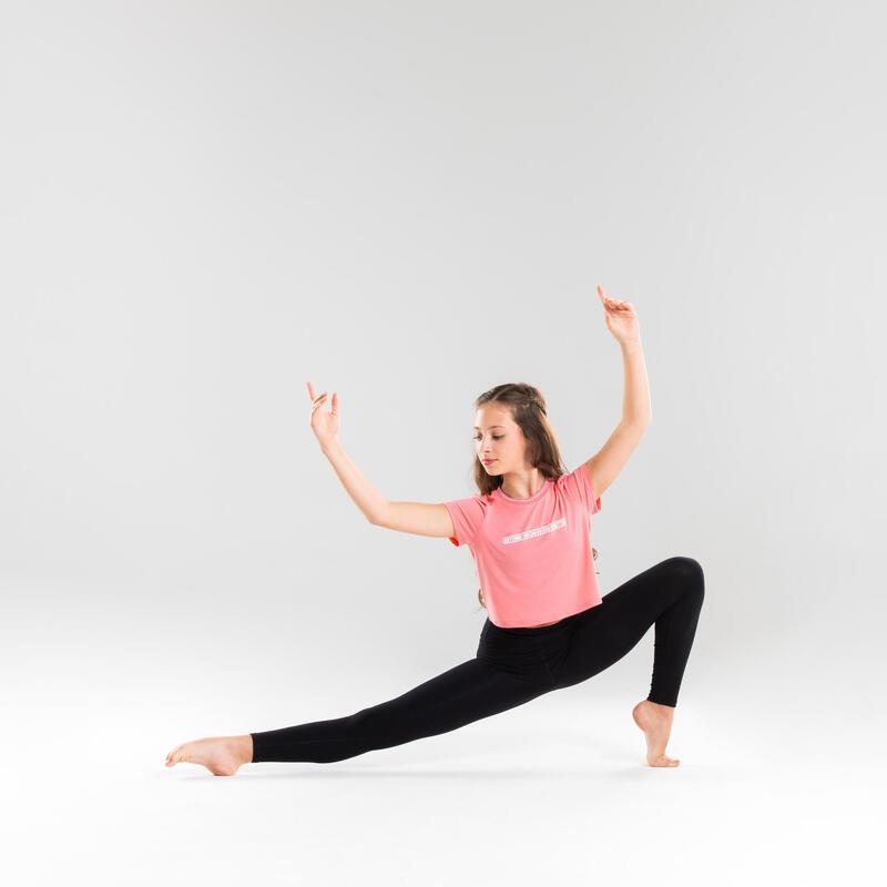 T-shirt Fluida Dança Moderna Menina Rosa Claro