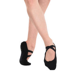 Balletschoenen stretch canvas demi-pointes met splitzool zwart maat 28-40